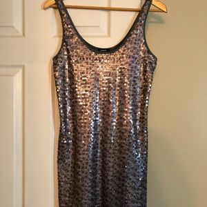 Express Copper Sequin Slip Dress - Size M
